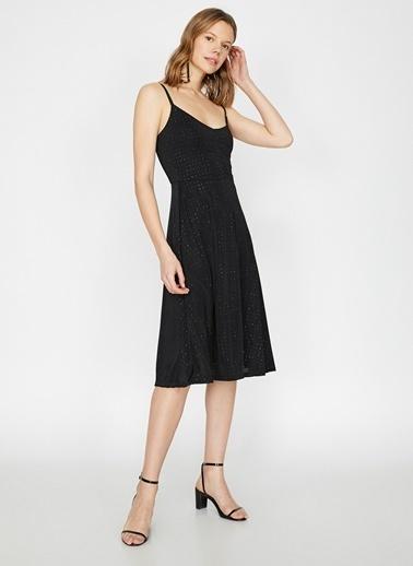 Koton İp Askılı Desenli Elbise Siyah